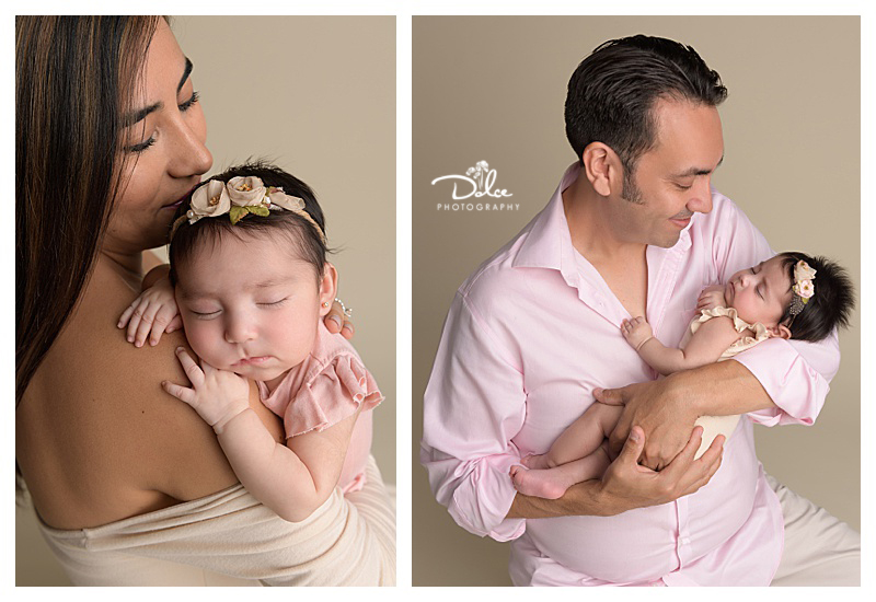 Elizabeth Santos Newborn Twins Girl Portraits With Mom And Dad Palmview Texas Newborn Photographer Dolce Photography